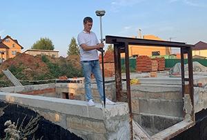 Исполнительная съёмка фундамента строящегося жилого дома для контроля соблюдения красных линий и отступов от границ земельного участка. г. Сергиев Посад