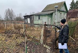 Определение координат границ участка при проведении работ по межеванию в деревне. Сергиево-Посадский район